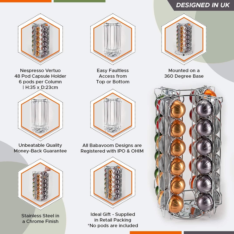 Contenitore per Capsule Nespresso Vertuo per 48 Capsule Caff/èsu Base RotanteBabvoom V48