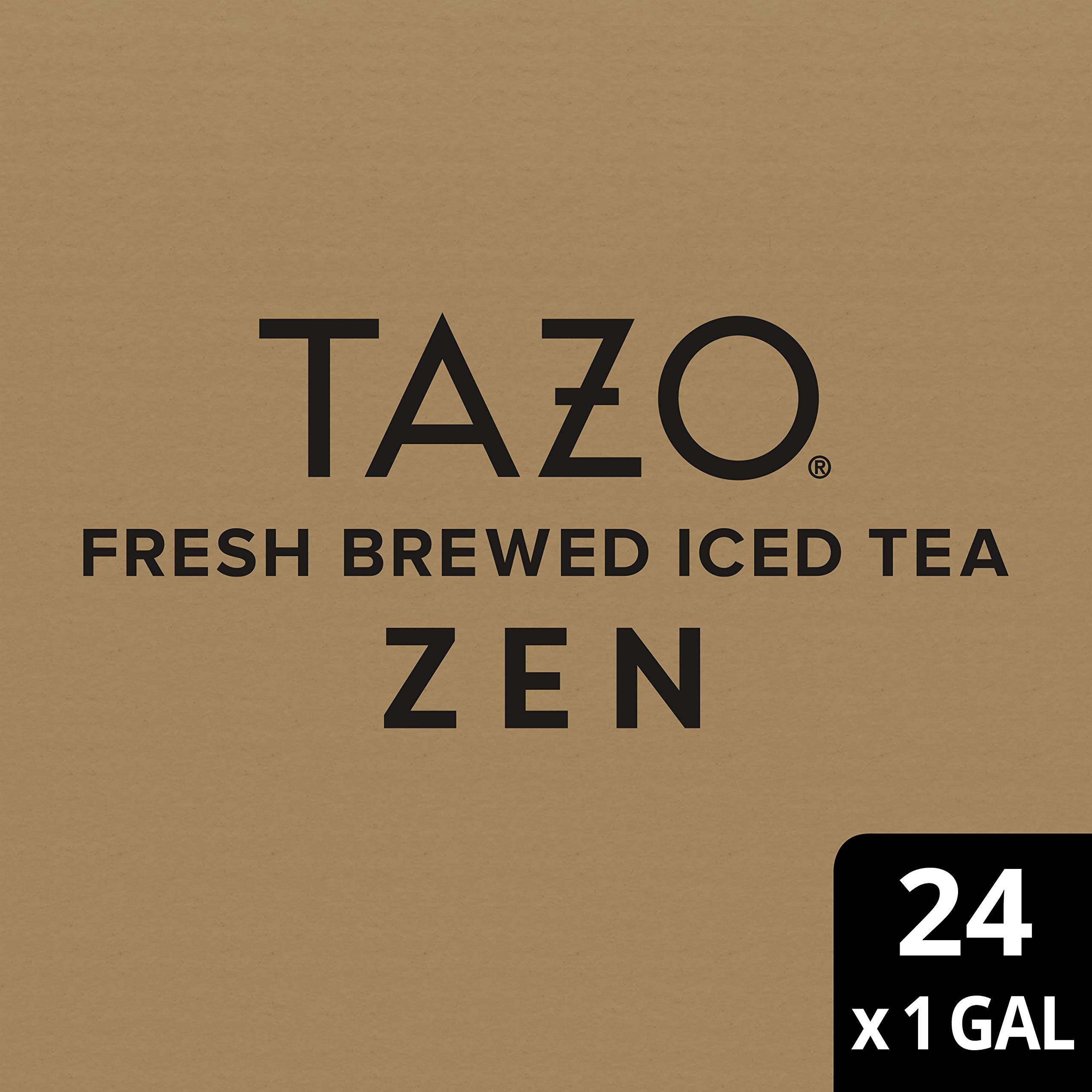 Tazo Zen Green Unsweetened Fresh Brewed Iced Tea Non GMO, 1 gallon, Pack of 24