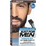 Just for Men Brush-In Color Gel for Mustache and Beard, Real Black M-55