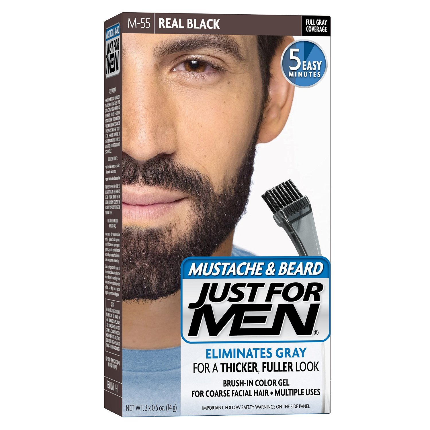 JUST FOR MEN Color Gel Mustache & Beard M-55 Real Black 1 Each 011509049056