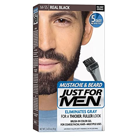 Buy Just for Men Brush-In Color Gel for Mustache and Beard, Real ...