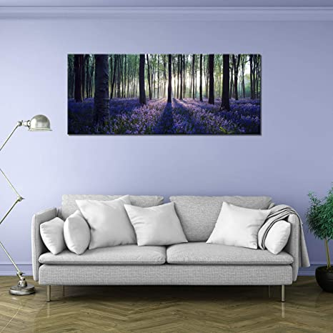 7036736dde66 Amazon.com: Visual Art Decor Framed Large Purple Canvas Wall Art Mild  Sunshine Lavender Forest Landscape Tree Wall Art Picture Prints Ready to  Hang for Home ...