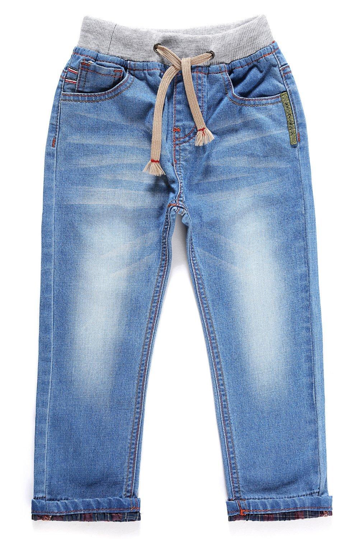 LITTLE-GUEST Little Boys' Jeans Kids Clothes Drawstring Waistband Denim Pants B103 (2 Years, Cyan Blue)