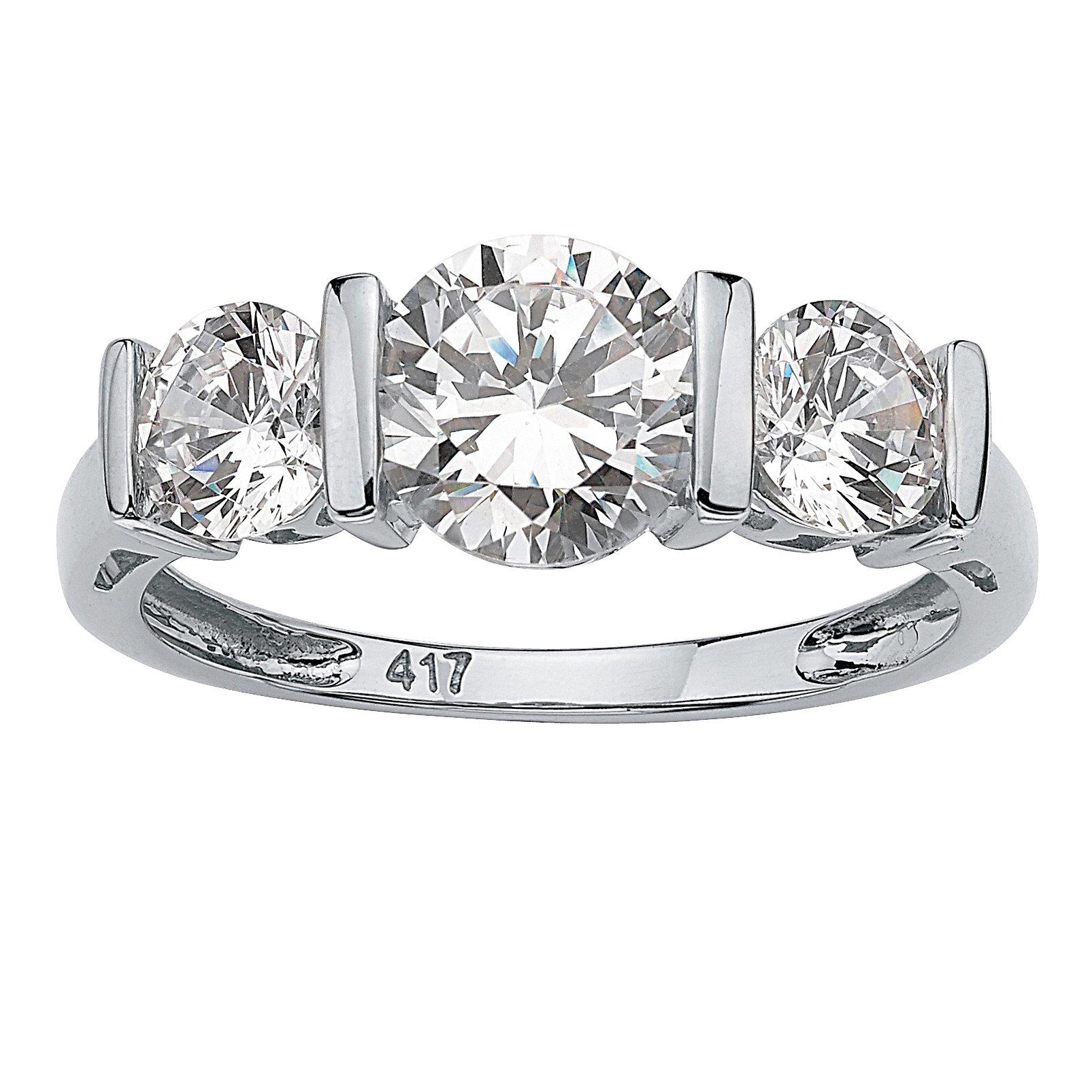Solid 10K White Gold Round Cubic Zirconia Bar-Set 3-Stone Wedding Anniversary Ring Size 7