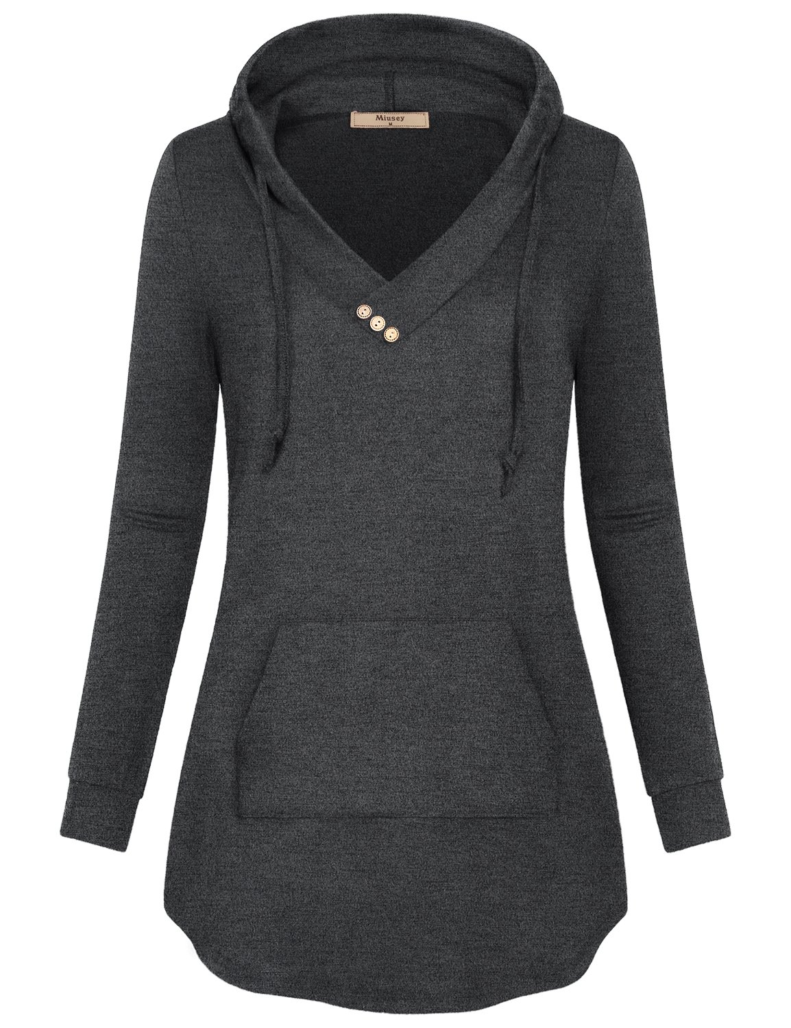 Plain Hoodie,Miusey Women V Neck Knit Sweater Blusas Elegantes Athleisure Travel Semi Formal Top Breathable Clothes Fashion Blousy Tops Different Carbon Sweet Sweat Shirt with Pleats Charcoal Black L
