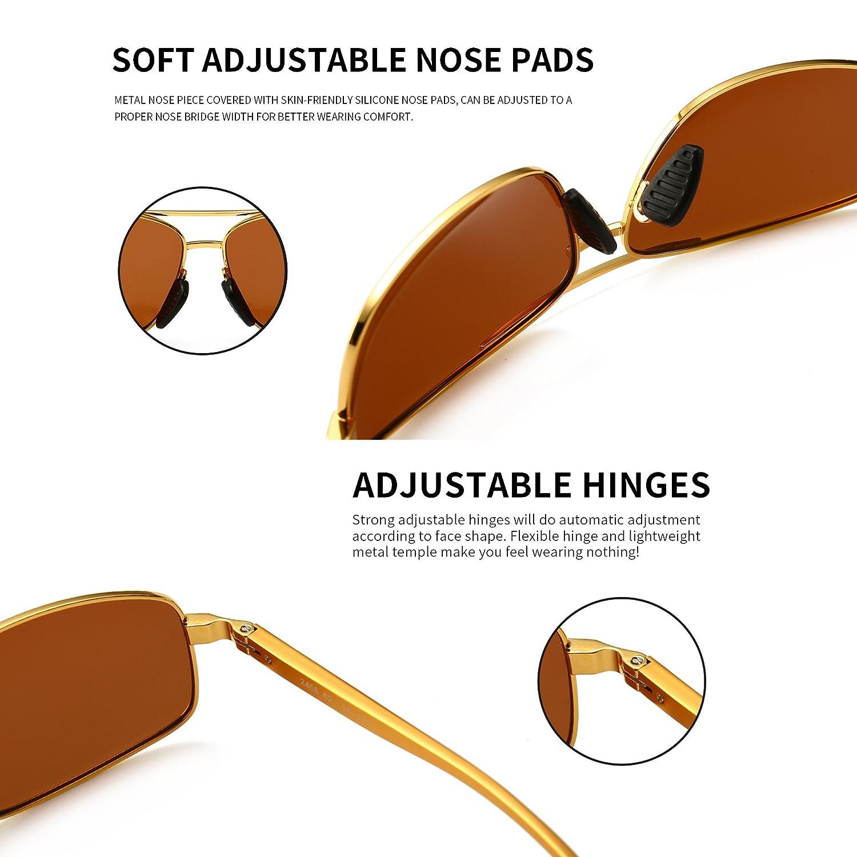 SUNGAIT Occhiali da sole uomo Polarizzati Rettangolari Protezione UV400