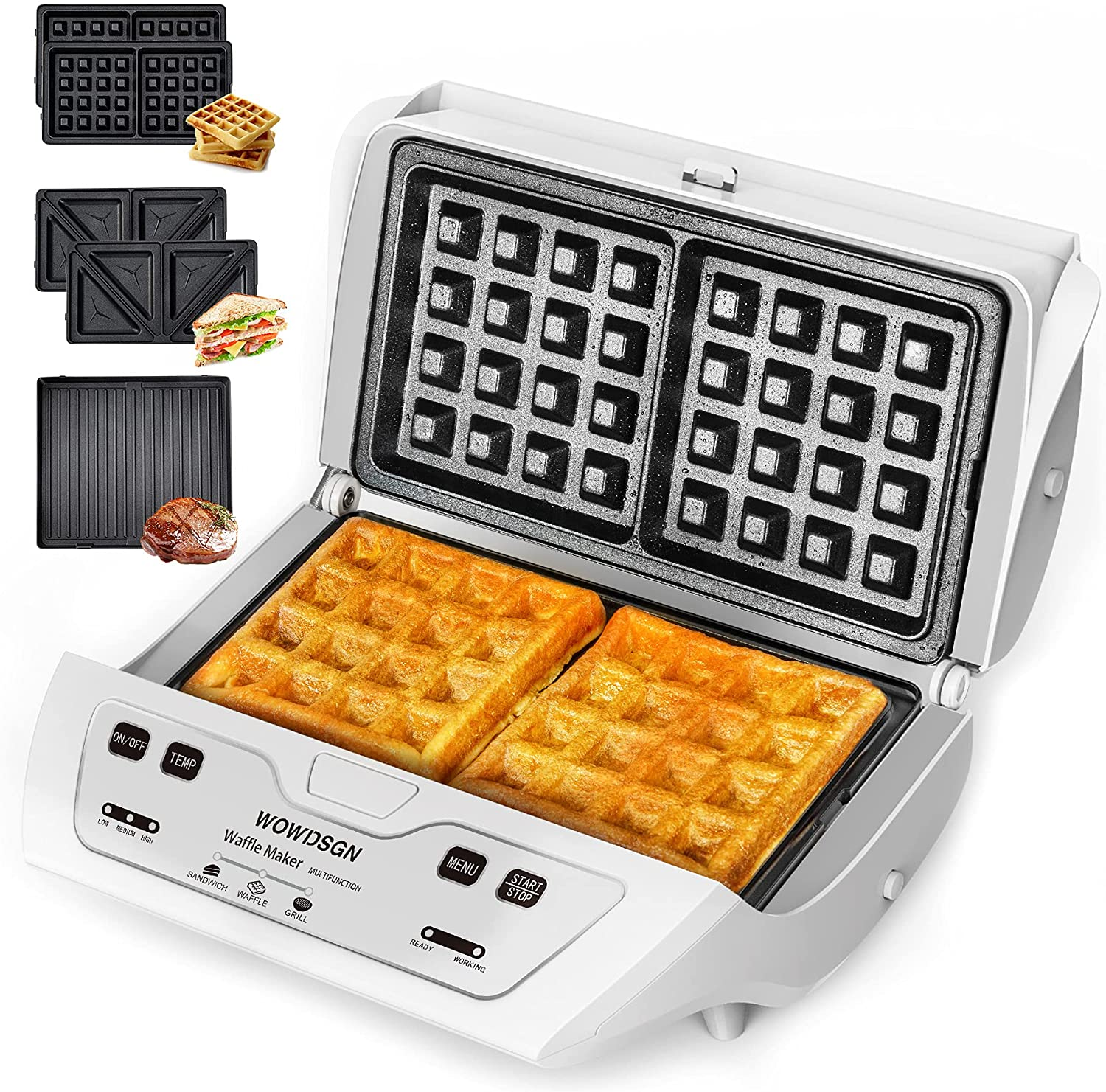 Waffle Maker -2021 Newest WOWDSGN Sandwich Maker,Toaster and Panini Press Grill with 3-in-1 Detachable Non-stick Large Plates,High,Middle Low temperature automatic control,Easy to Clean,Touch button