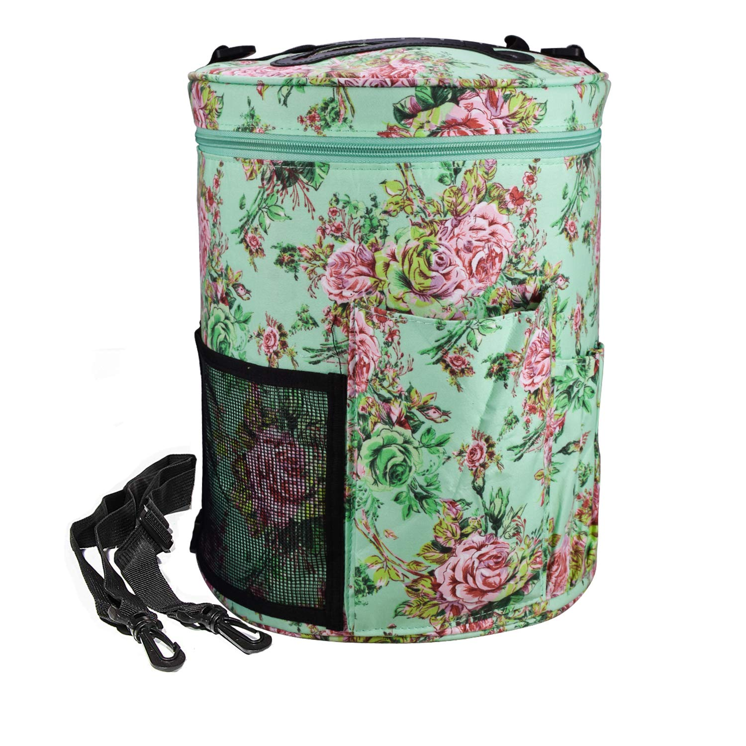 Large Capacity/Portable/Lightweight Yarn Storage Knitting Tote Organizer Bag with Shoulder Strap Handles Looen W/Pockets for Crochet Hooks & Knitting Needles ... (Peony Flower)