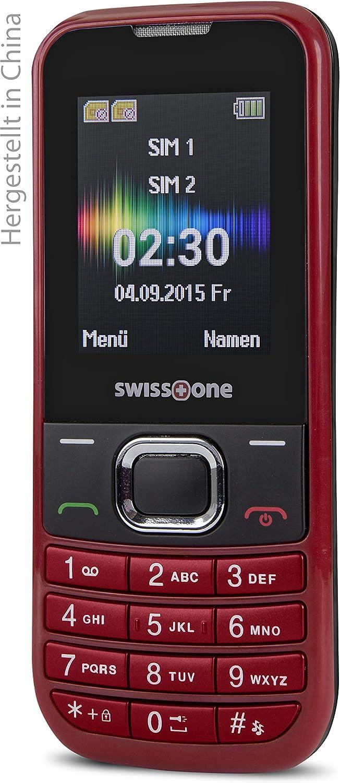 Swisstone Sc 230 Dual Sim Handy 1 8 Zoll Rot Elektronik