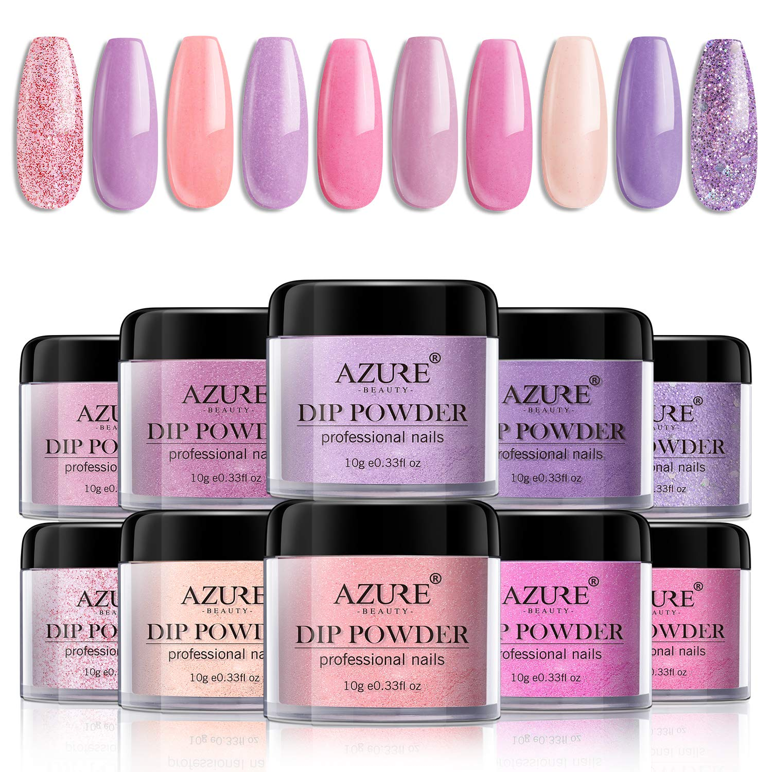 Dip Powder Nails Color Set - Pink Purple 10 Colors Dip Powders Nails Set for French Nail Manicure Nail Art No UV/LED Nail Lamp Needed by AZUREBEAUTY