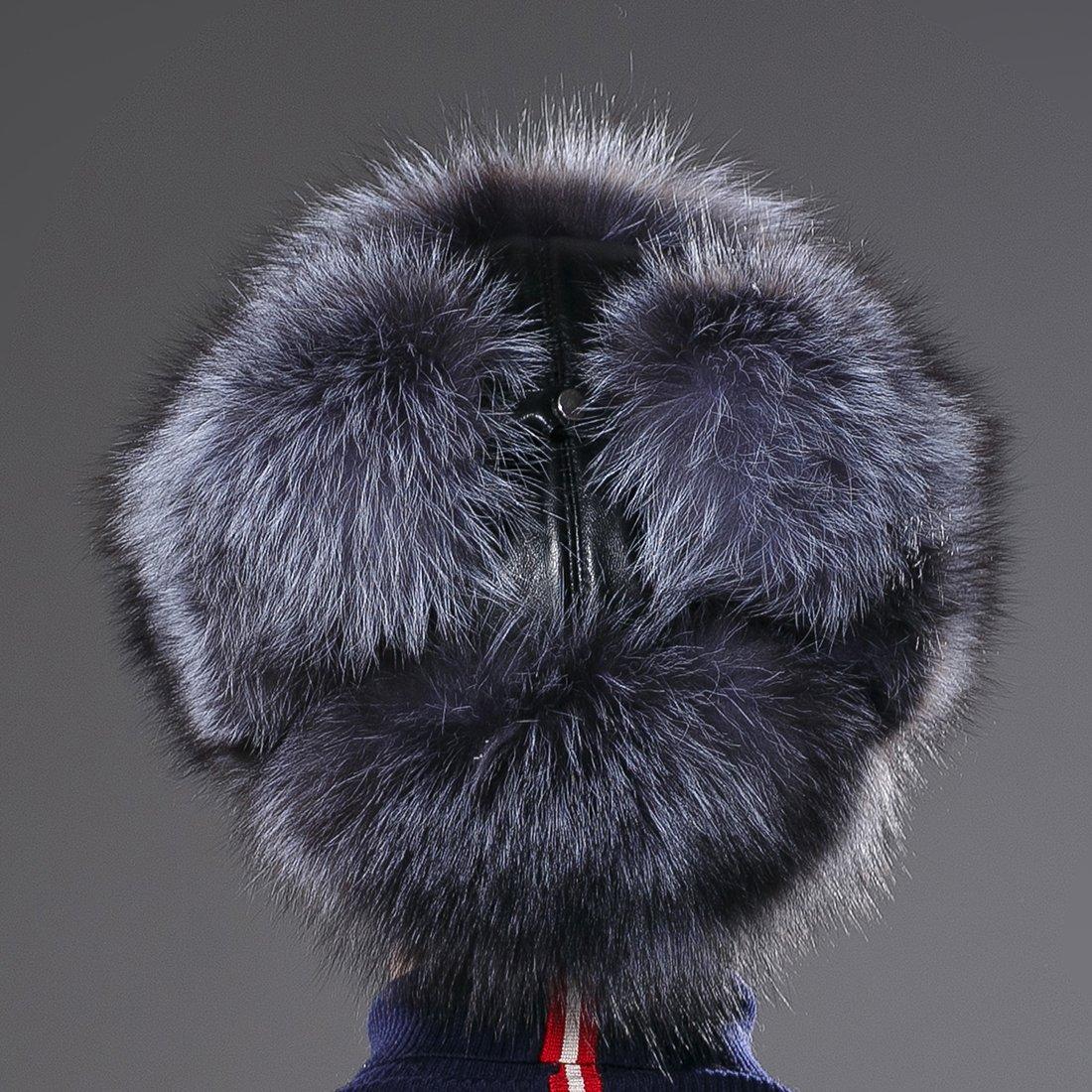 URSFUR Winter Mens Russian Ushanka Hat Real Leather & Silver Fox Fur Trapper Cap by URSFUR (Image #5)