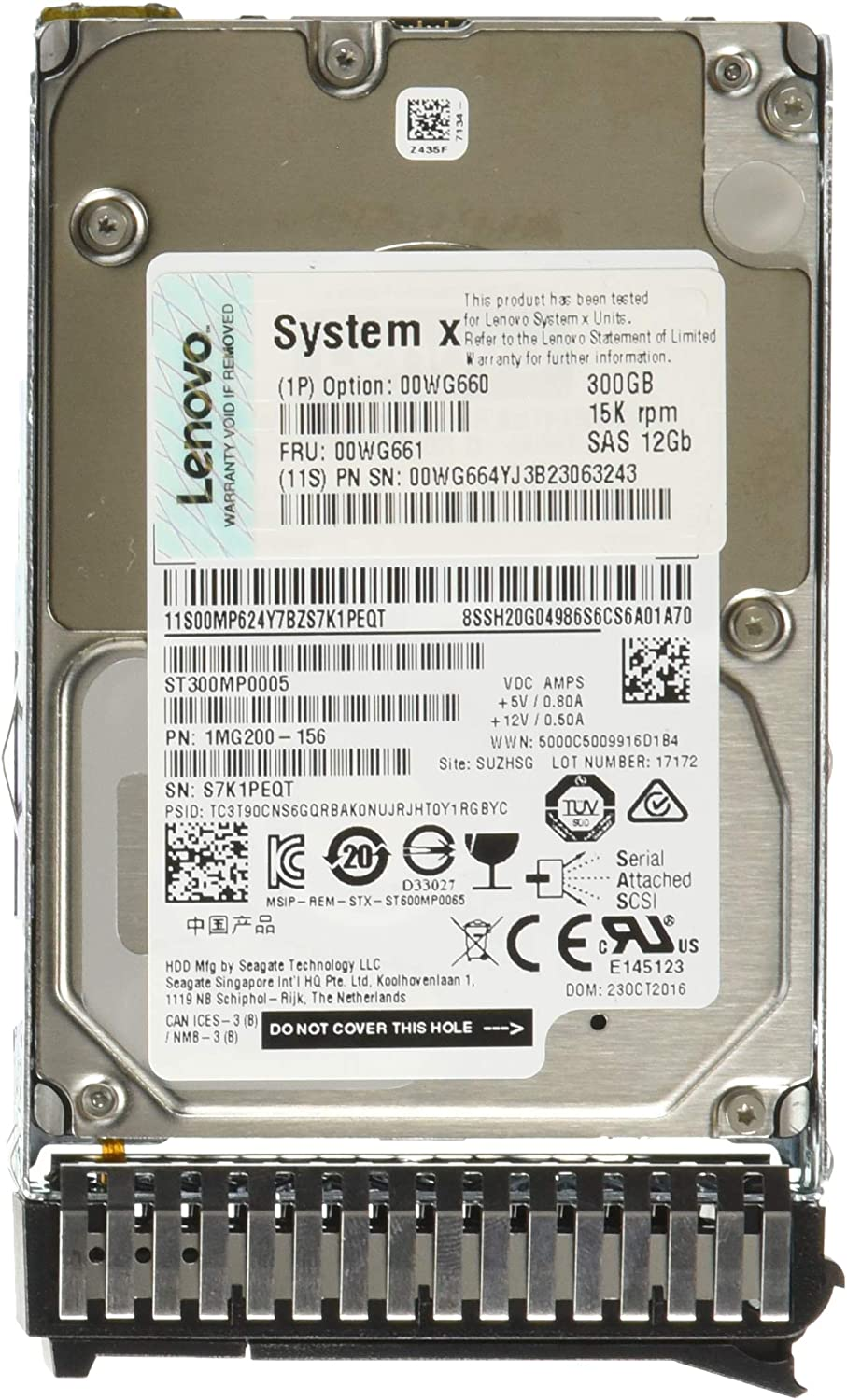 "Lenovo 00WG660 System X 300GB 2.5"" 15K SAS HDD 64 MB Cache 2.5"" Internal Bare or OEM Drives"