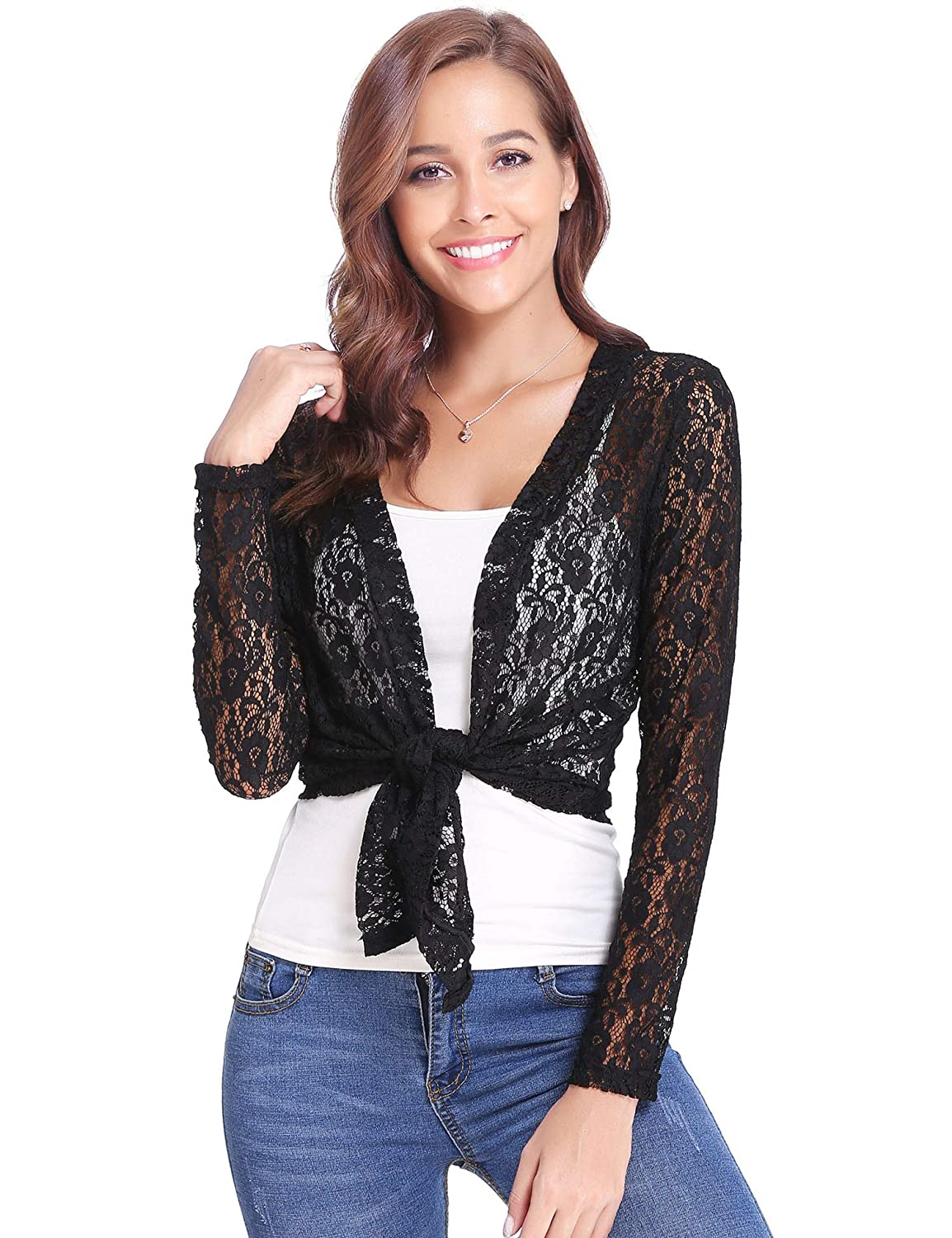 Abollria Womens Shrugs Summer Floral Lace Short Sleeve Open Front Bolero Cardigan