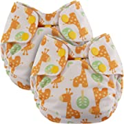 Blueberry Newborn Simplex All in One Cloth Diapers, Bundle of 2, Made in USA (Giraffes)