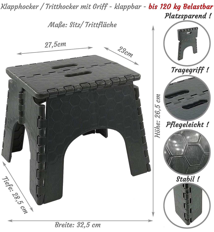 mit Aufbewahrungsbox  Maße 36 cm x 26 cm 28 cm hoch 1  x Tritt Hocker 3 in 1