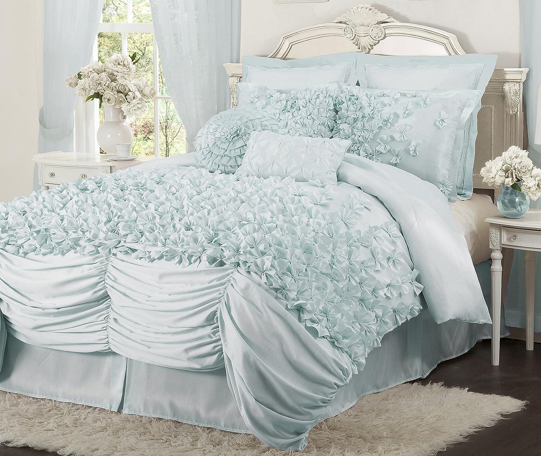 Light blue bedding - Amazon Com Lush Decor Lucia 4 Piece Comforter Set California King White Home Kitchen