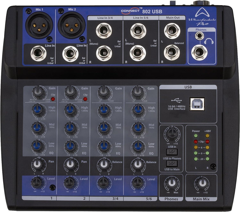 Wharfedale Pro Connect 802 - Mini mesa de mezclas de audio (USB ...