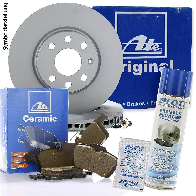 ATE Ceramic Bremsbel/äge Keramik Bremskl/ötze Bremsenset Bremsenkit Komplettset Vorderachse Bremsenreiniger Original ATE Bremsscheiben vorne