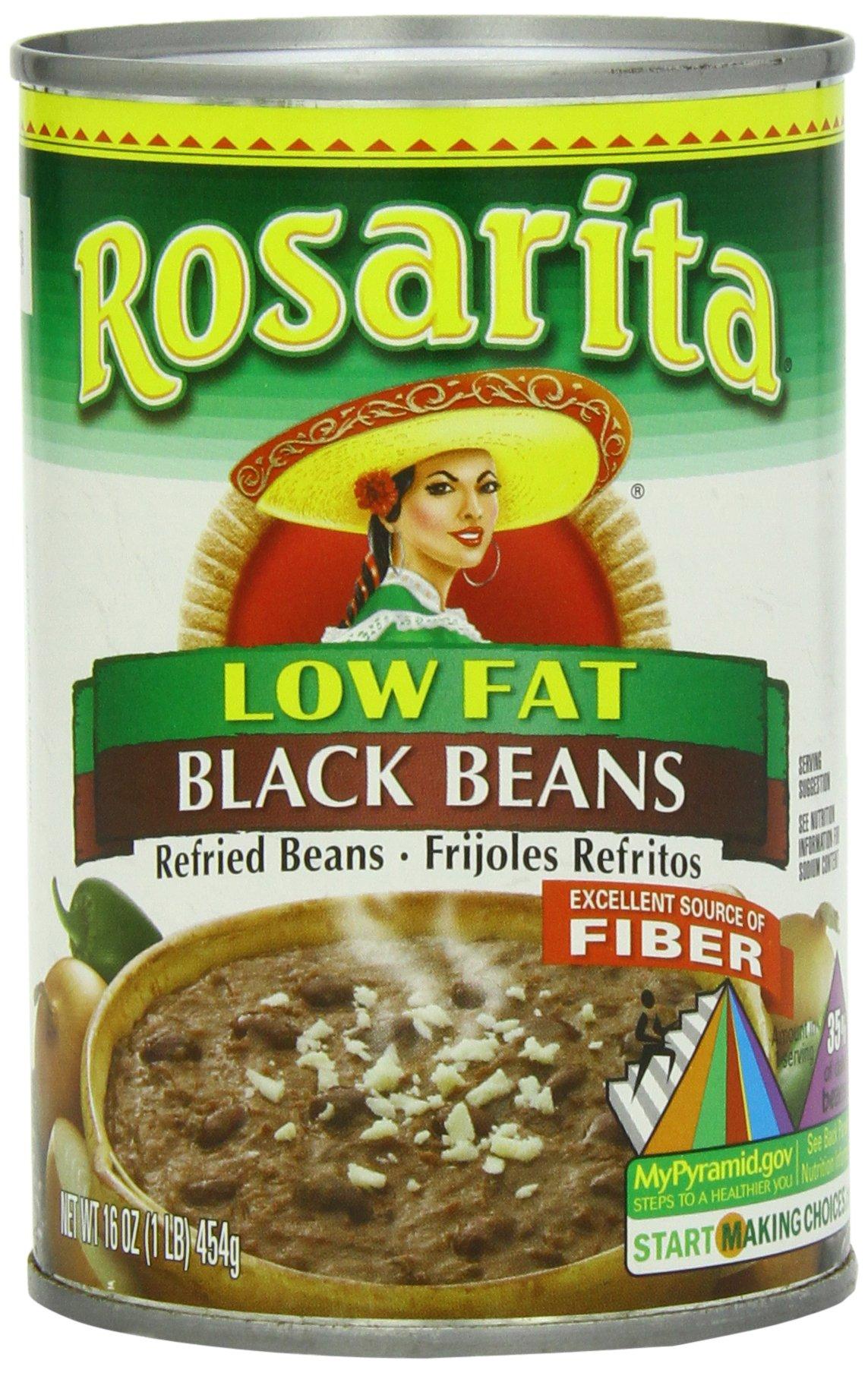 Rosarita Low Fat Refried Black Beans, 16 oz, 12 Pack