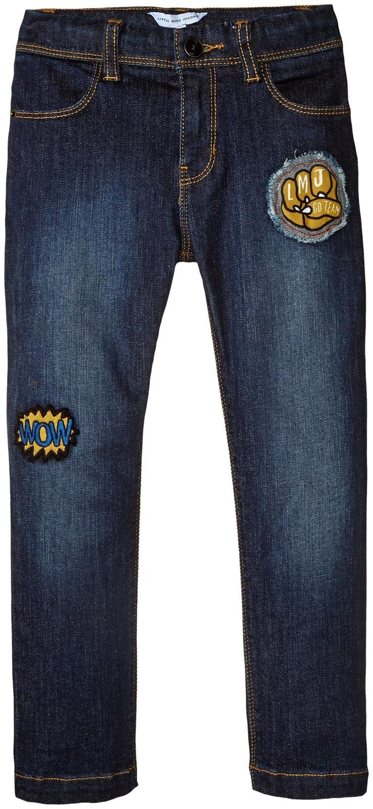 Little Marc Jacobs Boys' Resort-Denim Trousers With Funny Patches, Denim Blue, 12 Big Kids X One Size by Little Marc Jacobs