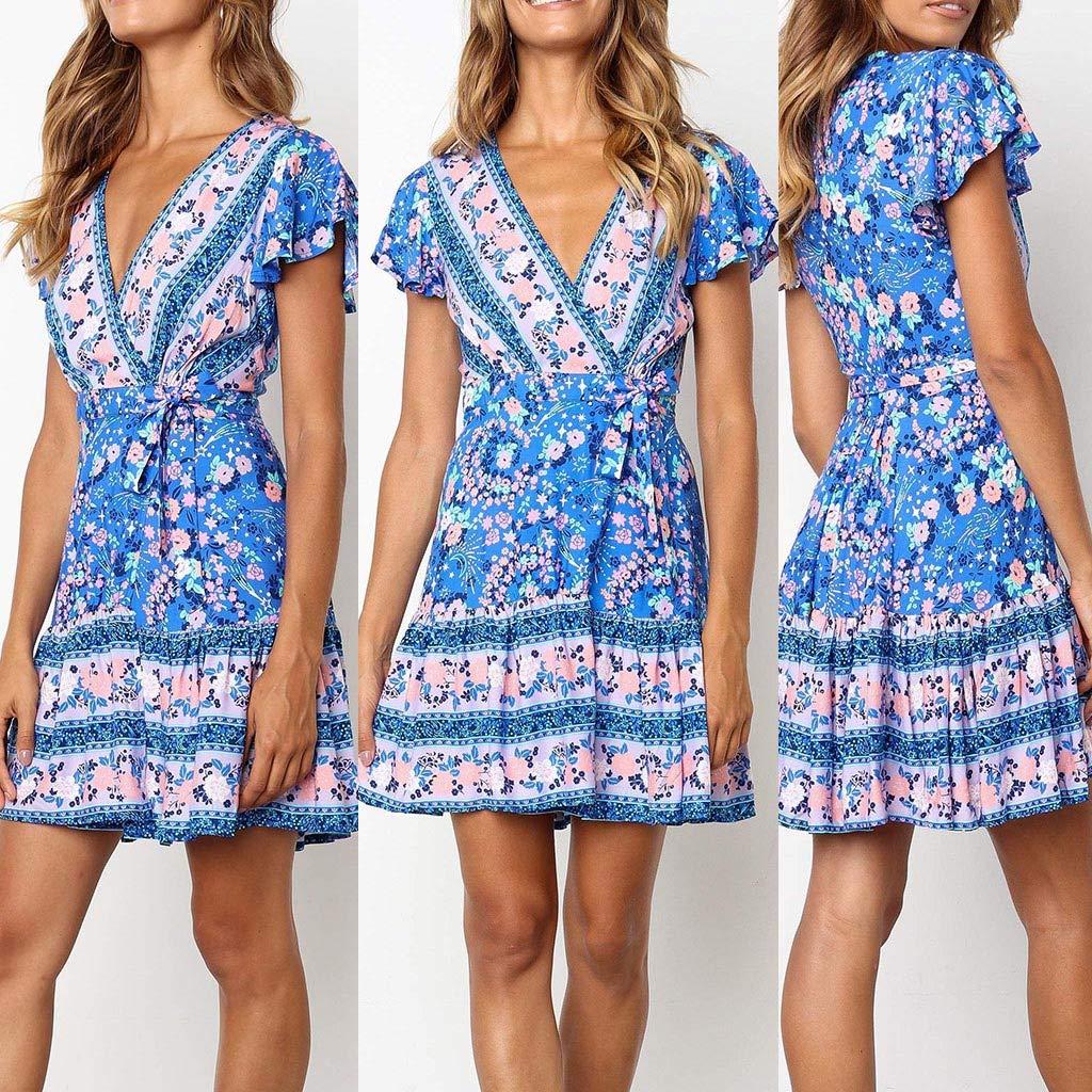 0eba4f082416 Amazon.com: TOTOD Women's Sexy Dress, Summer Boho Floral Print V Neck  Minidress Short Sleeve Bandage Evening Party Dresses: Clothing