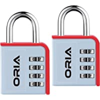 2-Pack ORIA Combination Lock 4 Digit Padlock (Silver/Red)