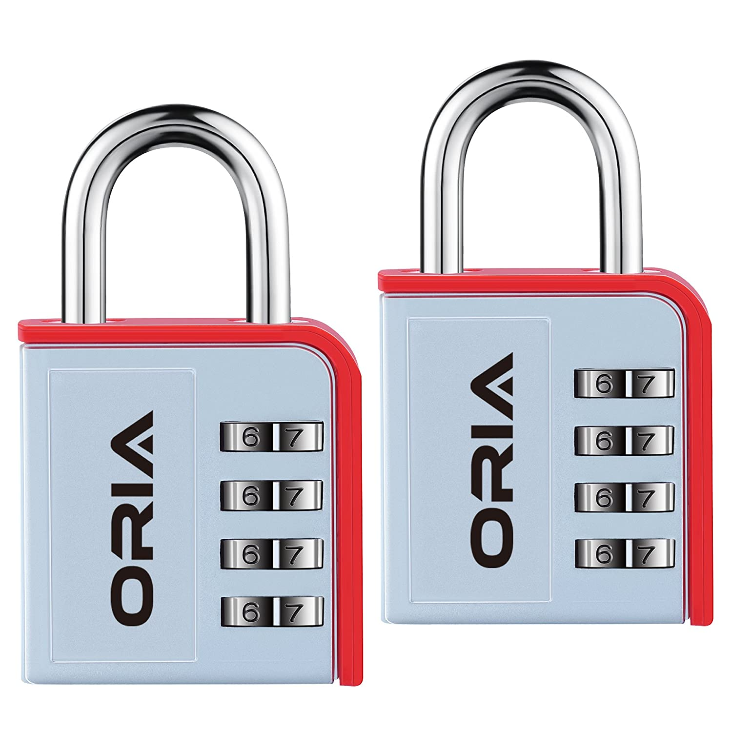 ORIA Combination Lock, 4 Digit Padlock, Gym or Travel Lock, with Waterproof  and Plated Steel Material Design for School, Case, Sport Locker, Toolbox,
