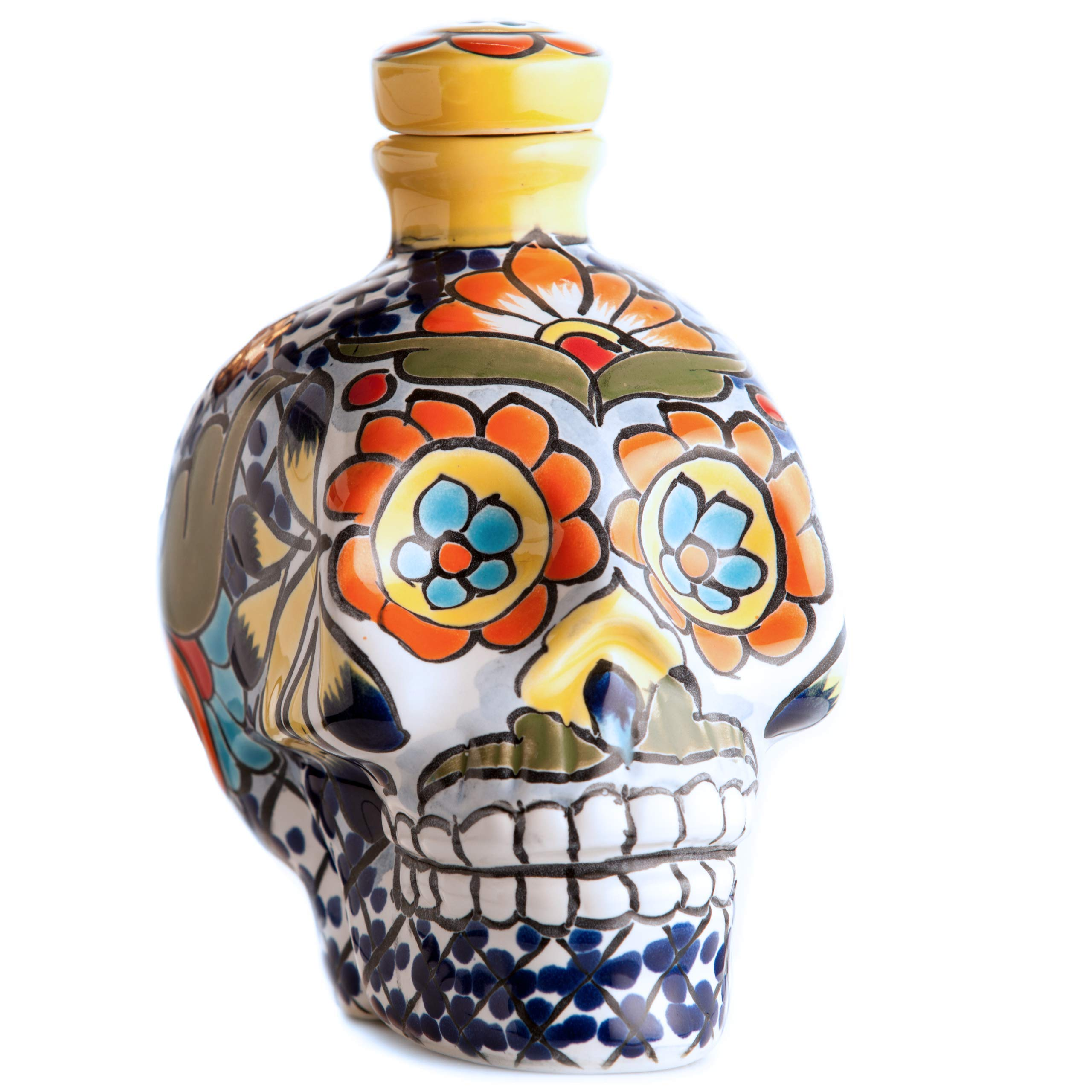 Artmmex82 Skull Ceramic Bottle Decanter 20oz capacity, liquor bottle, handcrafted bottle, hand painted decanter, skull bottle, ceramic bottle, ceramic. (blue-yellow)