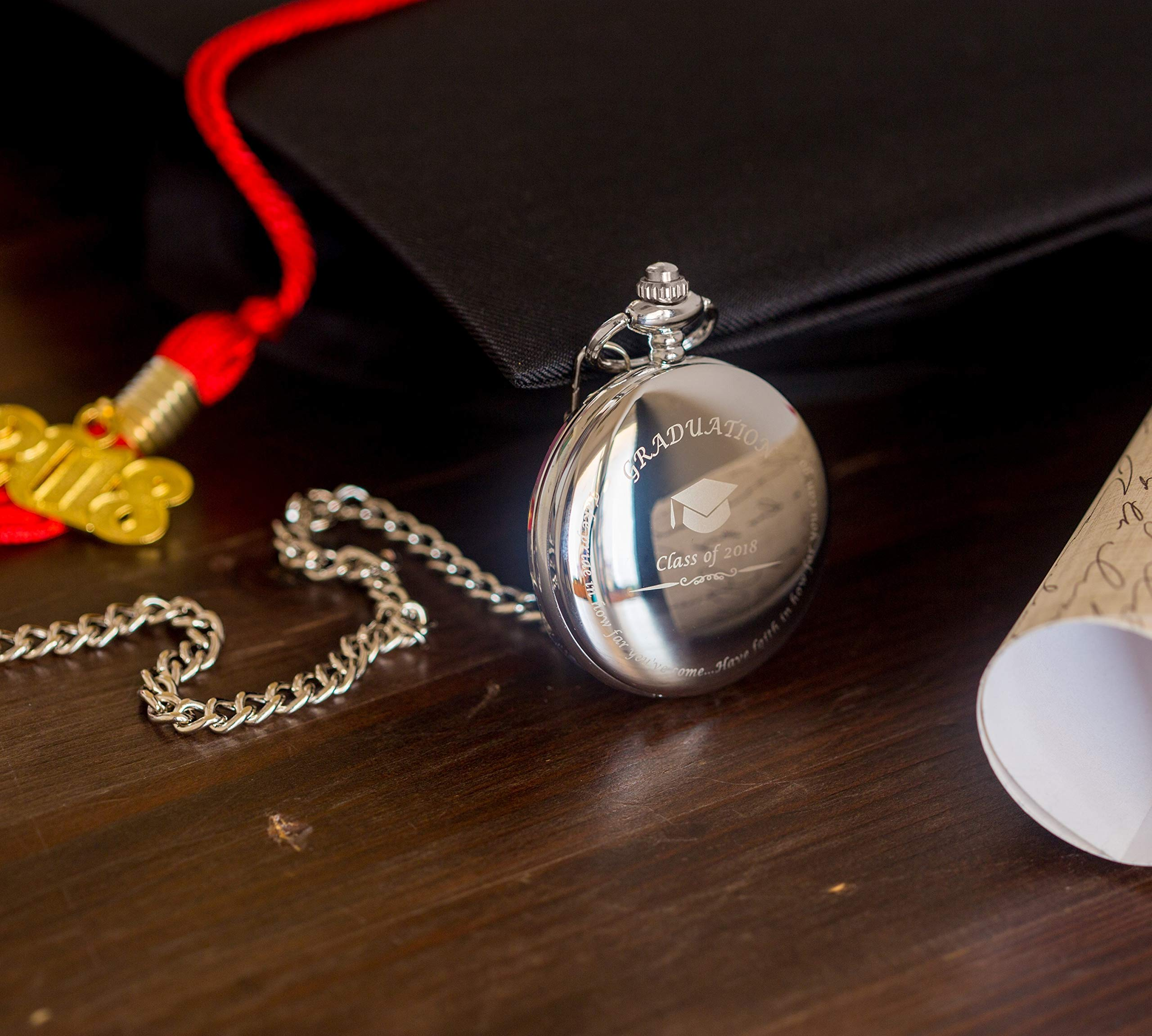 Graduation Gifts for Him - Pocket Watch - Engraved 'Class of 2019' - Perfect College / High School Graduation Gift or Present for Son | Him in 2019 by FREDERICK JAMES (Image #4)