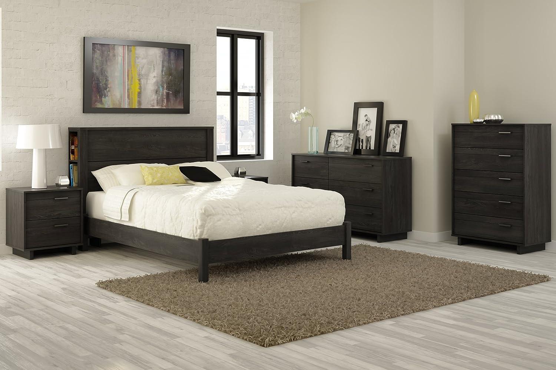bed set furniture chocolate piece platform back shore htm south bedroom l wood bay dark
