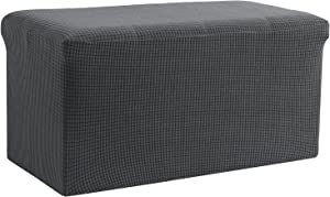 HOMBYS Stretch Ottoman Cover Slipcovers for Ottoman & Furniture Protect-Soft & Water Proof Spandex Waffle Grid Fabric with Elastic Bottom-Grey(Large-29x24x15 in, Drak Grey)