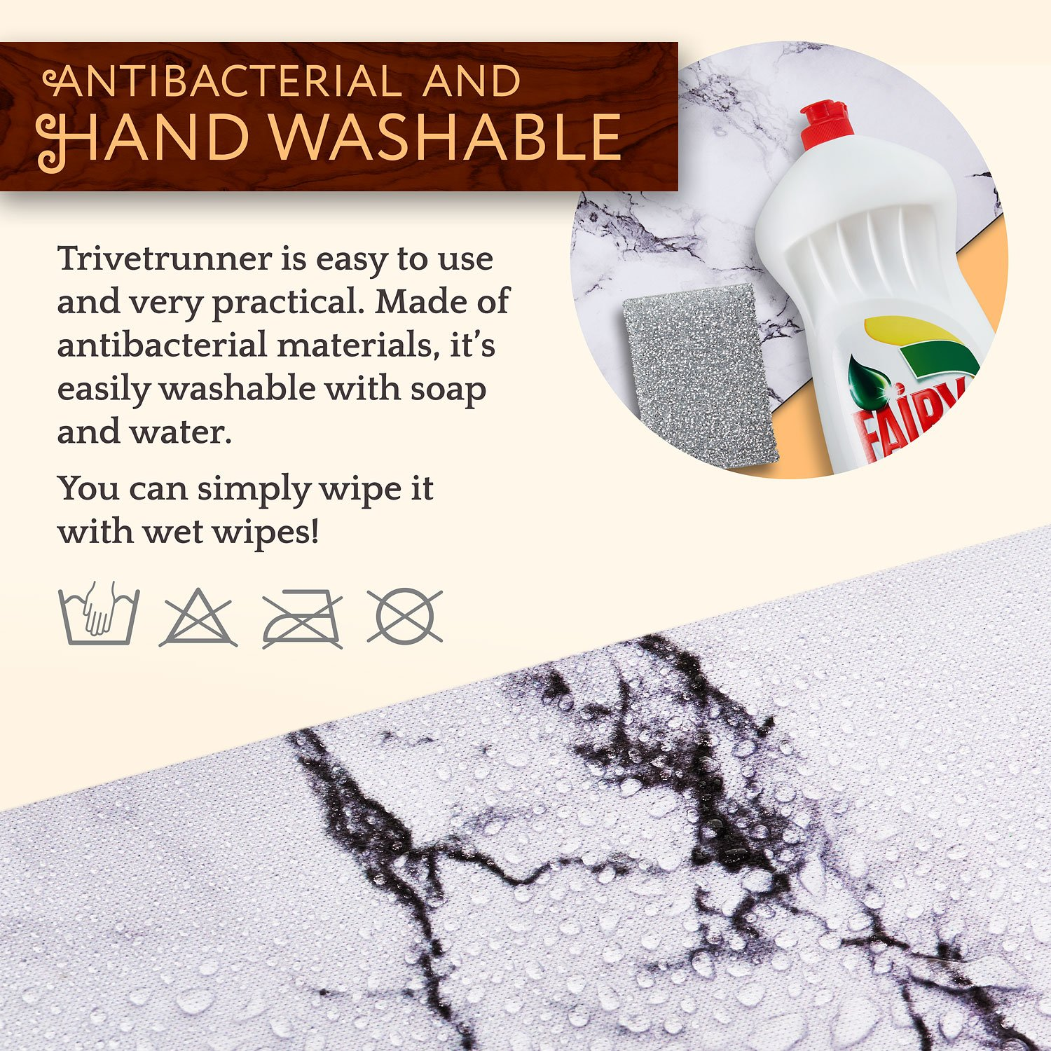 TRIVETRUNNER Decorative Trivet and Kitchen Table Runners Handles Heat Up to 300F, Anti Slip, Hand Washable, and Convenient for Hot Dishes and Pots,Hand Washable (White Marble) by TRIVETRUNNER (Image #6)