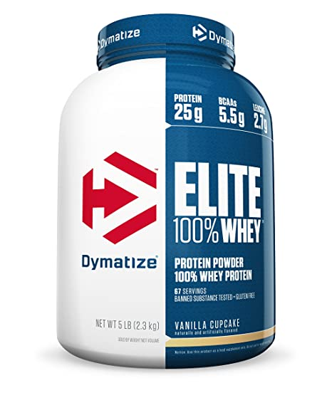 Dymatize Nutrition Elite 100% Whey - 2.3 kg (Vanilla Cupcake) Whey Proteins at amazon