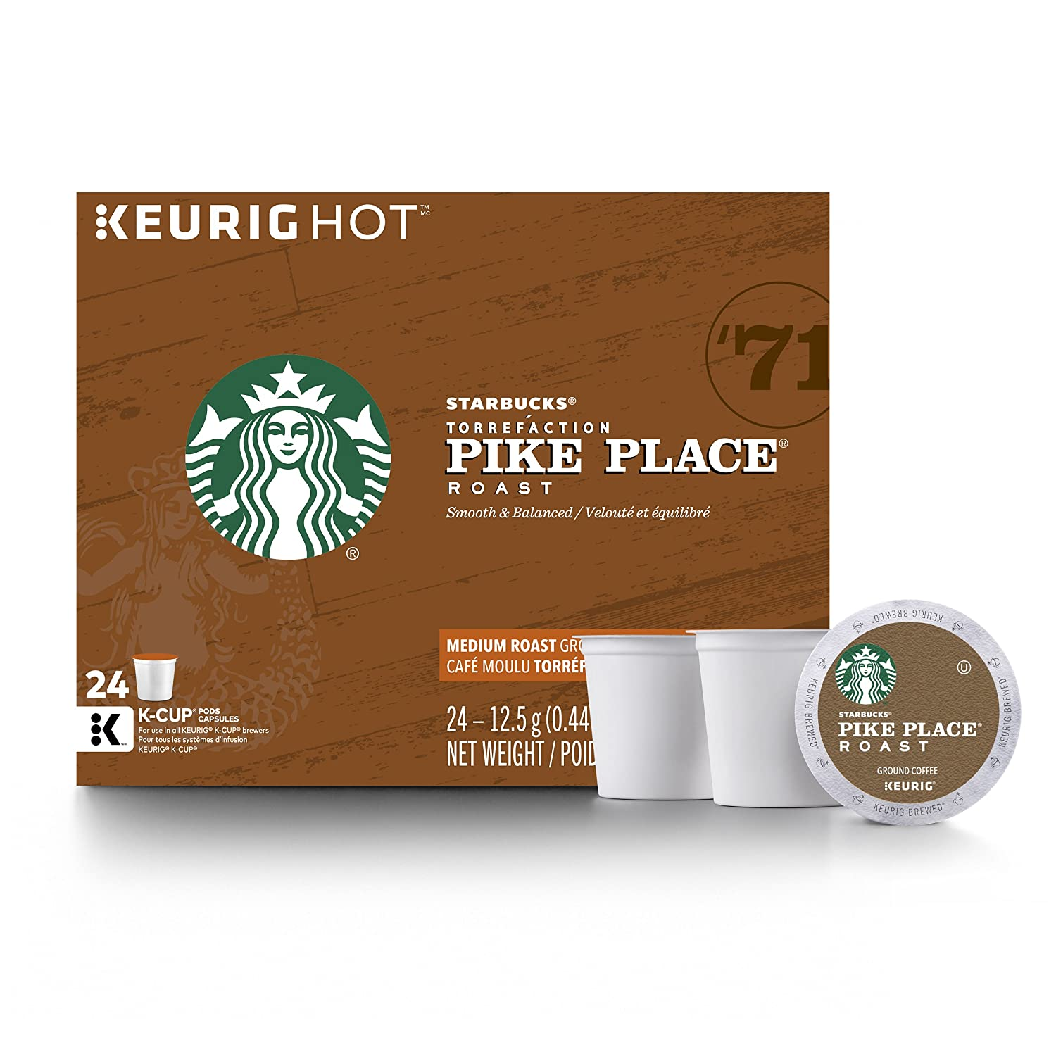 Starbucks Coffee, Pike Place Roast K Cup Portion Pack for Keurig Brewers, 24 Count