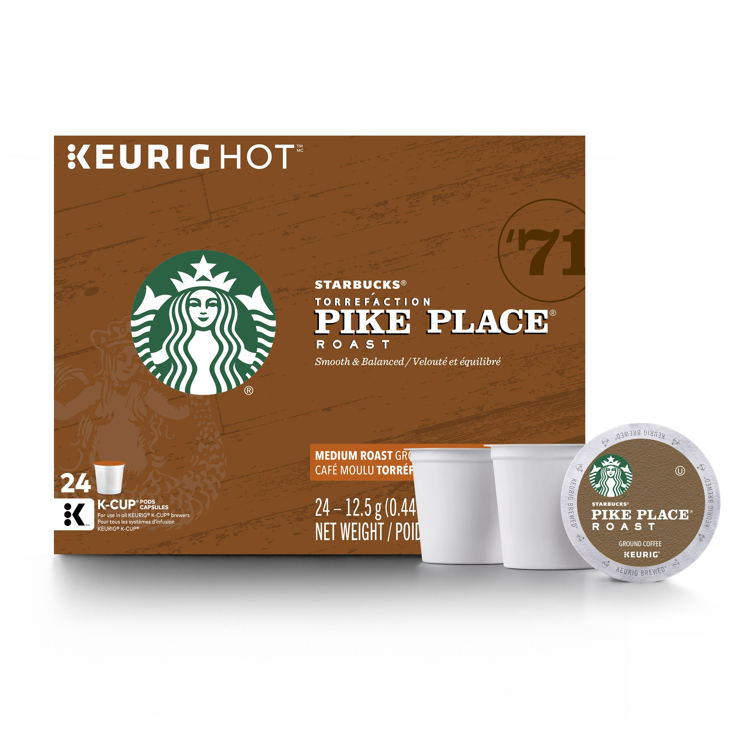 Starbucks Pike Place Roast Medium Roast Single Cup Coffee for Keurig Brewers, 4 boxes of 24 (96 total K-Cup pods) by Starbucks