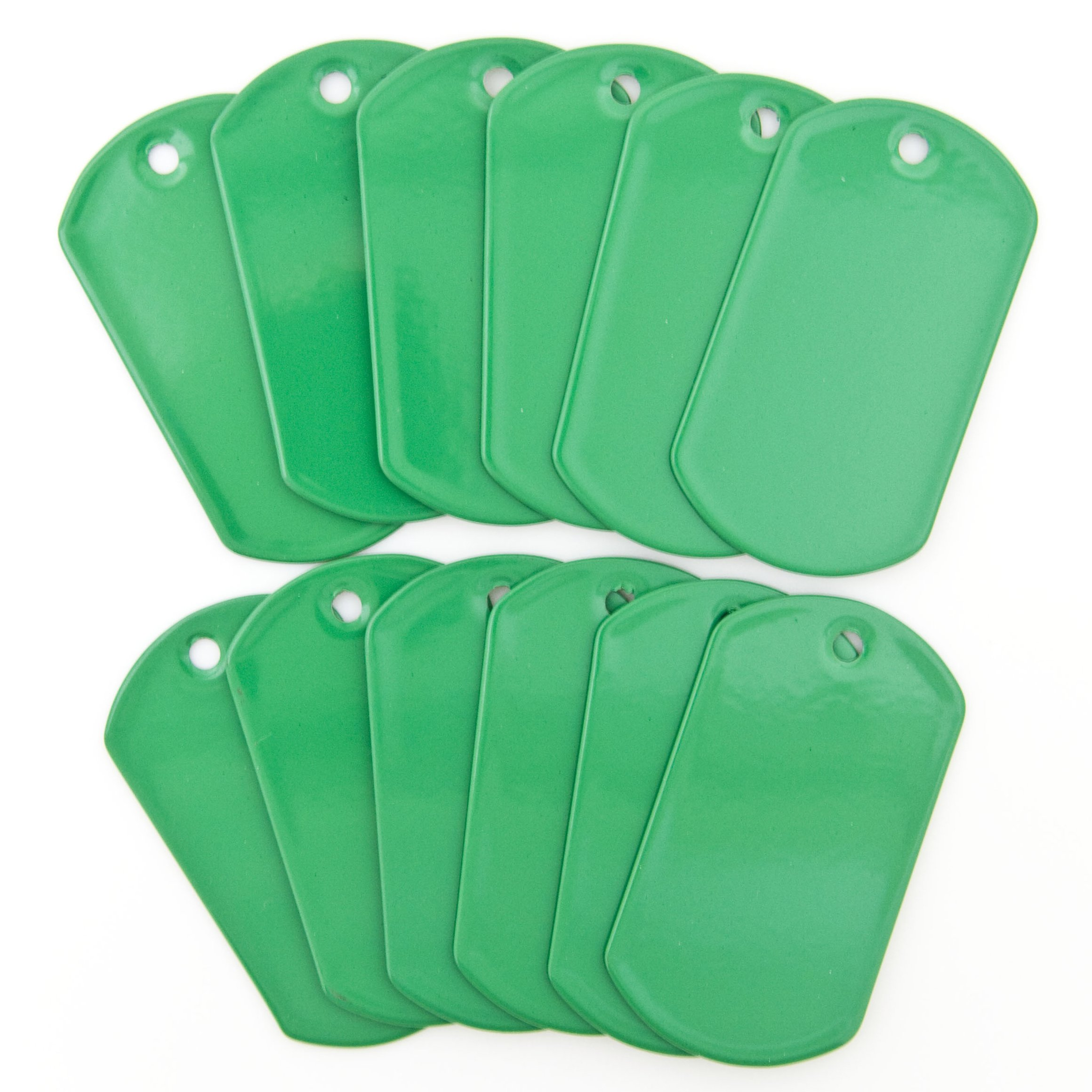 Green Stainless Steel Military Spec Dog Tags by OnDepot - Pack of 100 pcs
