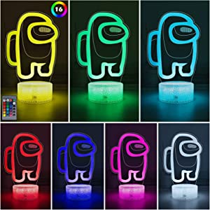 Among Us 3D Table Lamp with 16 Colors Changing, USB Powered Illusion Night Light with Remote Control, Bedside Night Lights for Kids Gifts Bedroom Decoration