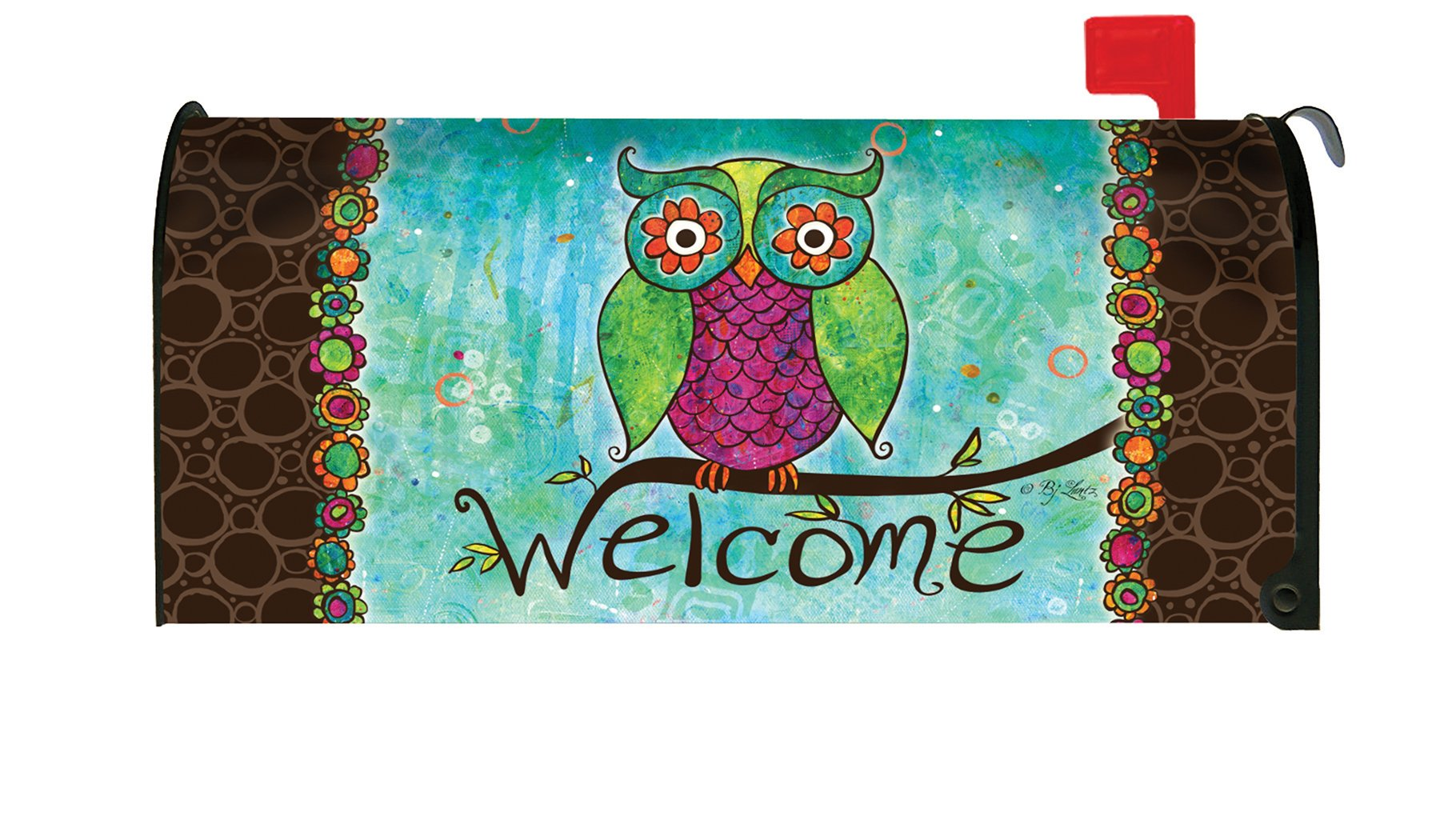 Toland Home Garden Rainbow Owl Colorful Welcome Bird Magnetic Mailbox Cover