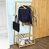SoBuy® FRG94-N Garde-robe Penderie à vêtement Porte-manteau Valet de chambre en bambou avec deux étagères