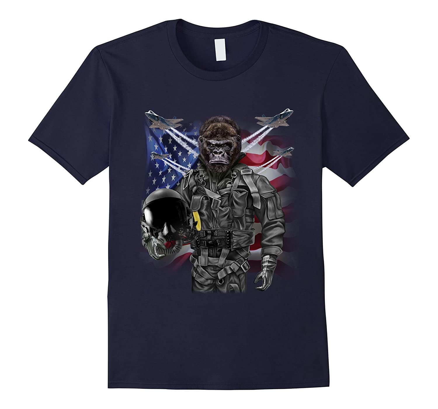 T-Shirt, Gorilla as Fighter Jet Pilot, USA America-T-Shirt