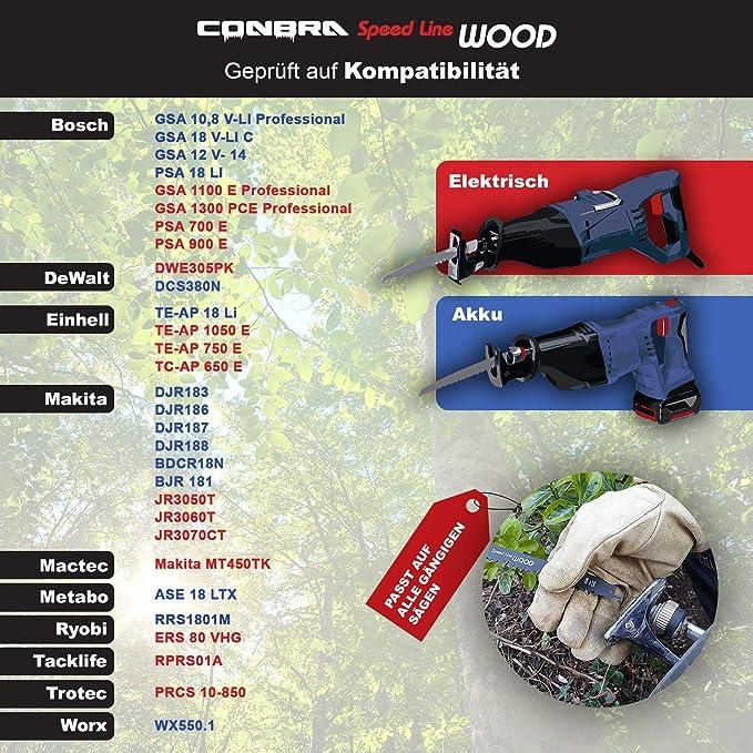 CONBRA ® Hoja de sierra recíproca para madera – 240 mm de largo – perfecto para cortes rápidos y rectos – apto para Bosch, Dewalt, Makita & Black y Decker Sawer Saws –