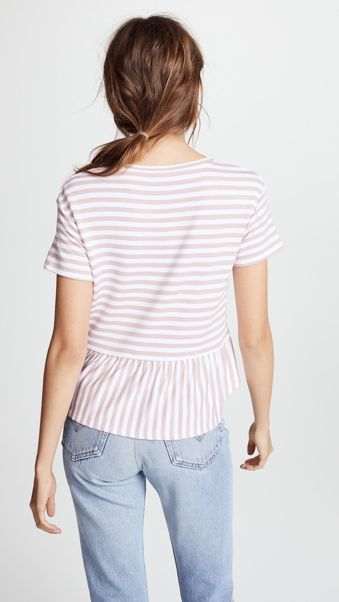 Three Dots Women's Cape Cod Stripe Loose Short Top, Rose/White, Extra Small by Three Dots (Image #3)