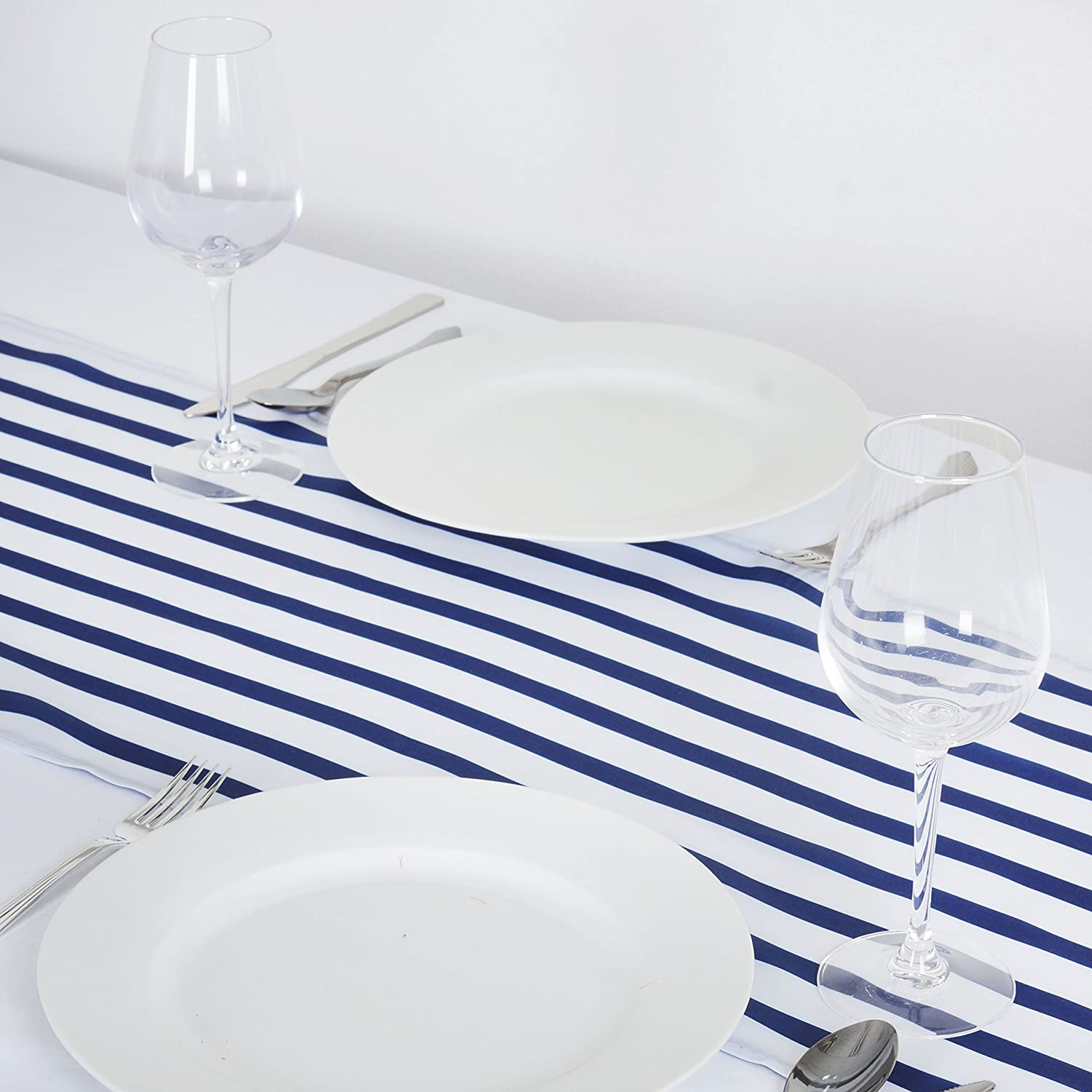 Amazon.com: BalsaCircle Satin Stripes Table Runner   Navy Blue: Home U0026  Kitchen