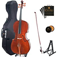 Cecilio CCO-300 Solid Wood Cello with Hard & Soft Case, Stand, Bow, Rosin, Bridge and Extra Set of Strings, Size 4/4 (Full Size)
