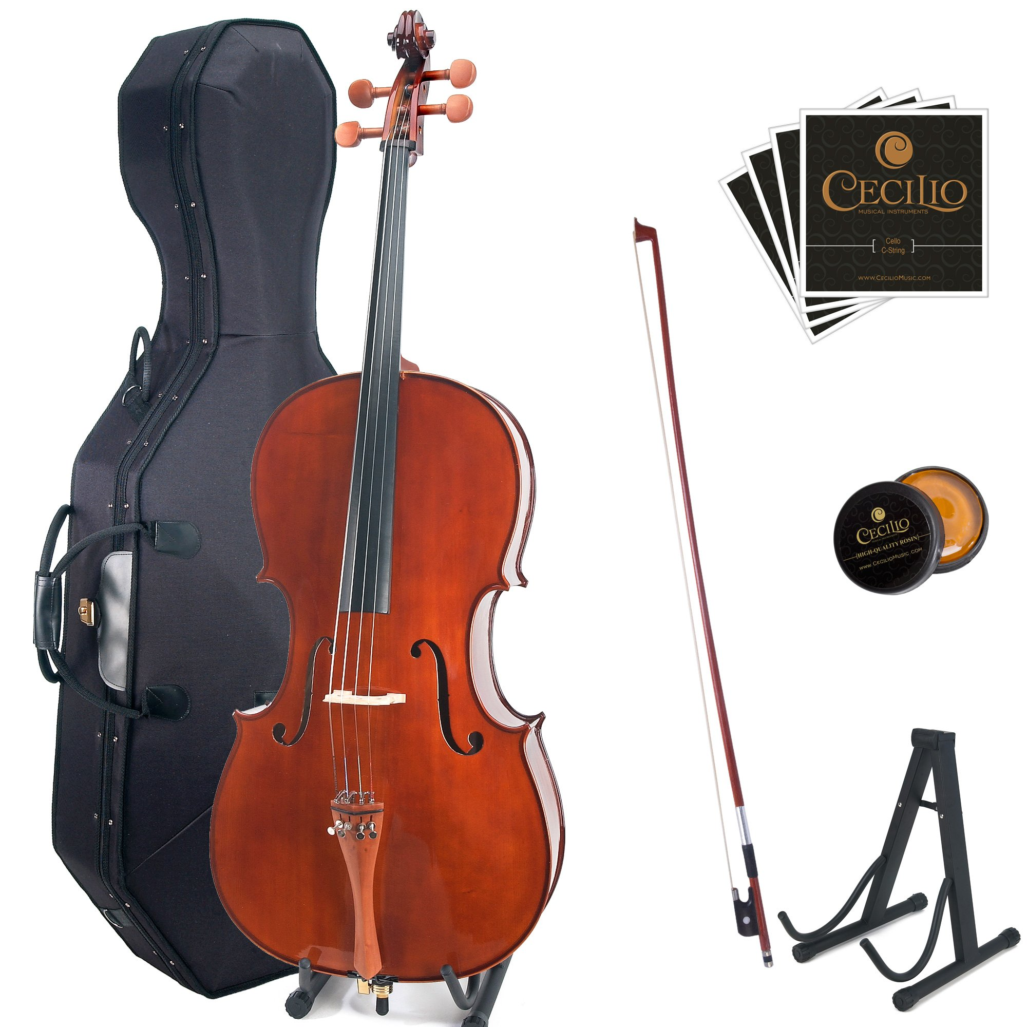 Cecilio CCO-300 Solid Wood Cello with Hard & Soft Case, Stand, Bow, Rosin, Bridge and Extra Set of Strings, Size 4/4 (Full Size) by Cecilio