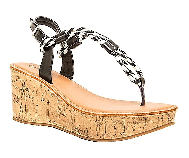 Qupid Womens Bali Strappy Braided Platform Wedge Sandal