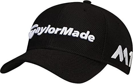1955bc50102 TaylorMade 2017 New Era Tour Authentic 39Thirty Stretch Hat Structured Mens  Golf Cap Black Small