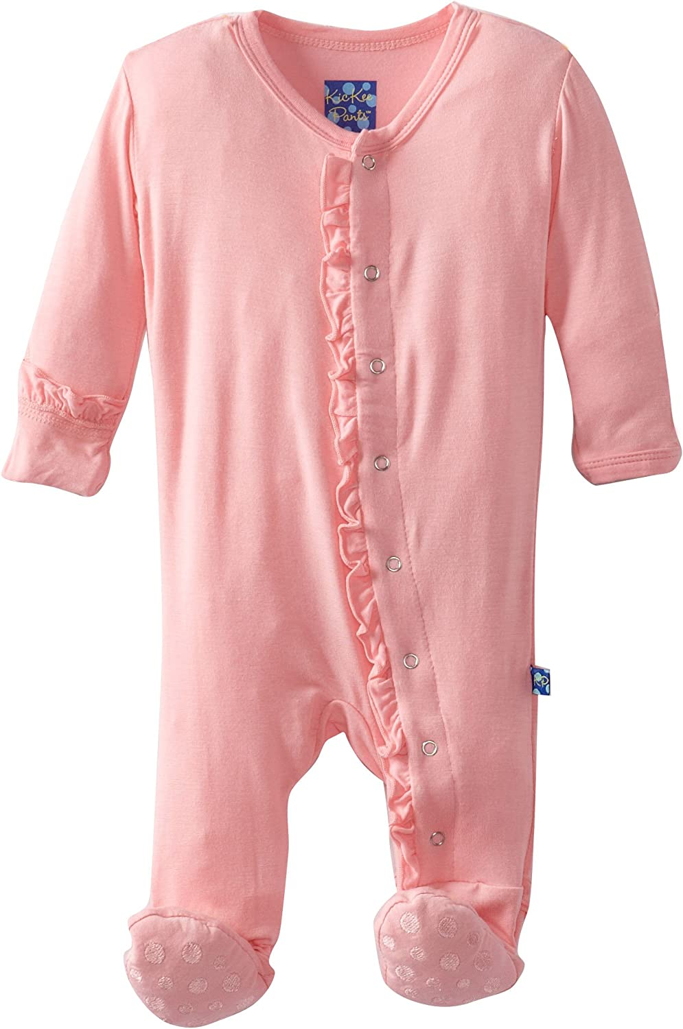 Kickee Pants Print Layette Classic Ruffle Footie with Zipper Apricot Octopus - 3-6 Months