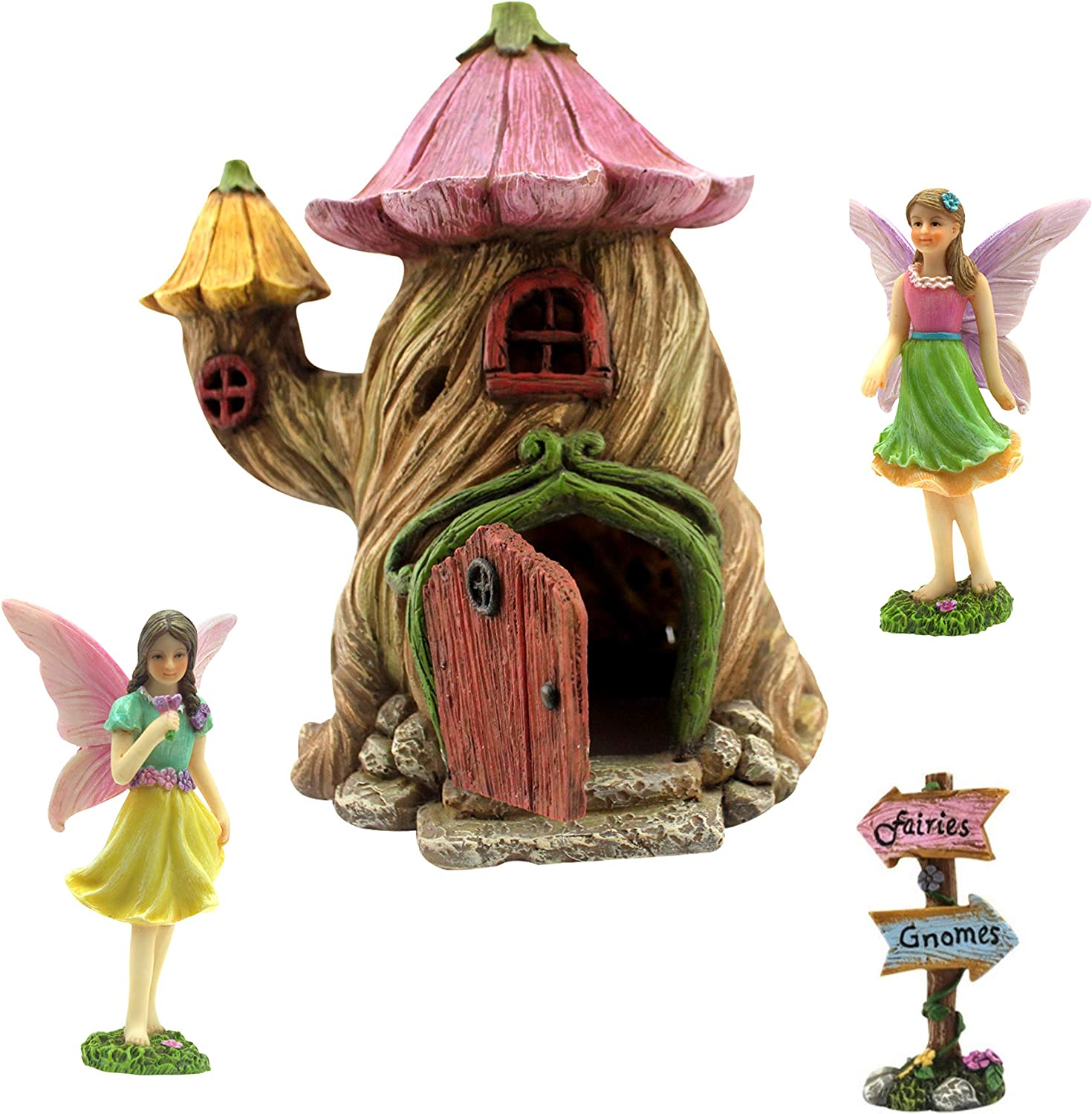 "PRETMANNS Fairy Garden House Accessories Kit – Miniature Fairy Figurines – 7"" High House – Door can Open Wide – Fairy Garden Supplies 4 Pieces"