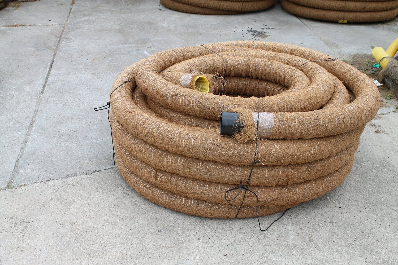 50 m Drainagerohr DN 65 gelocht mit Kokosfilter Kokos ummantelt